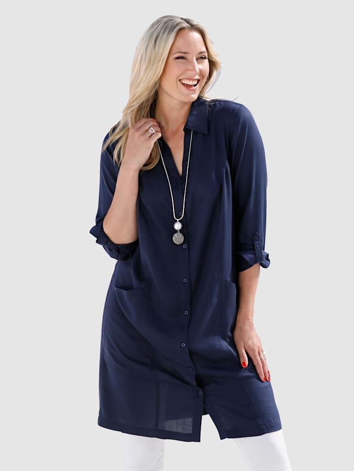 MIAMODA Kleid mit Armaufschlag zum fixieren, Marineblau