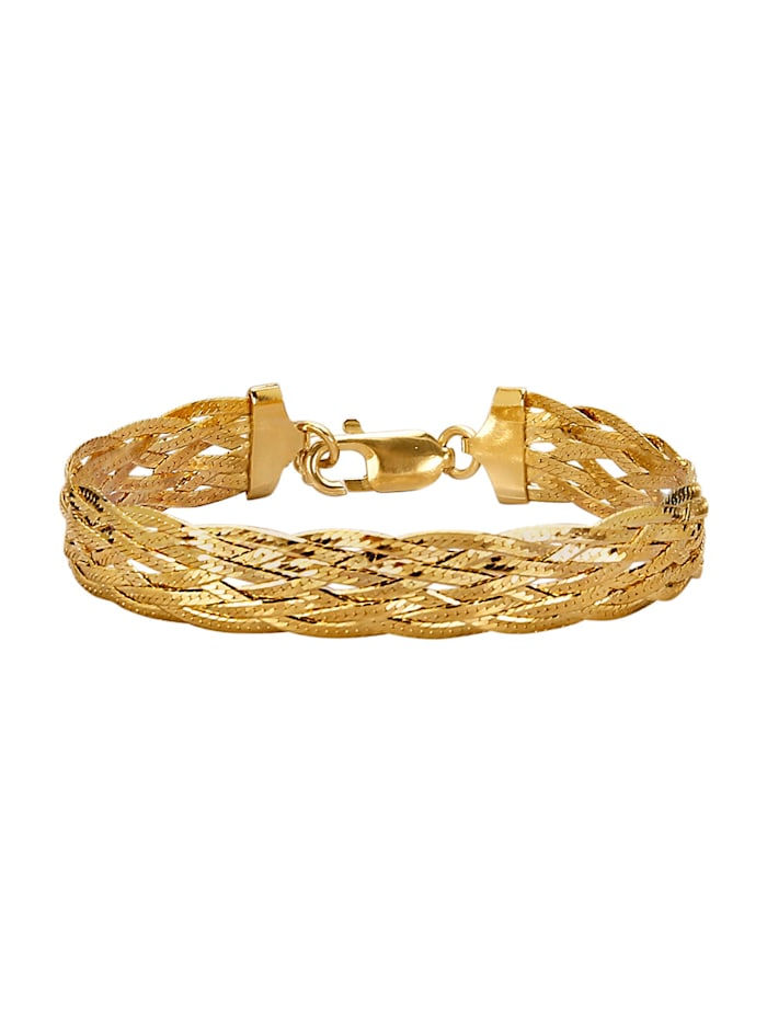 Golden Style Bracelet maille plate torsadée, Jaune