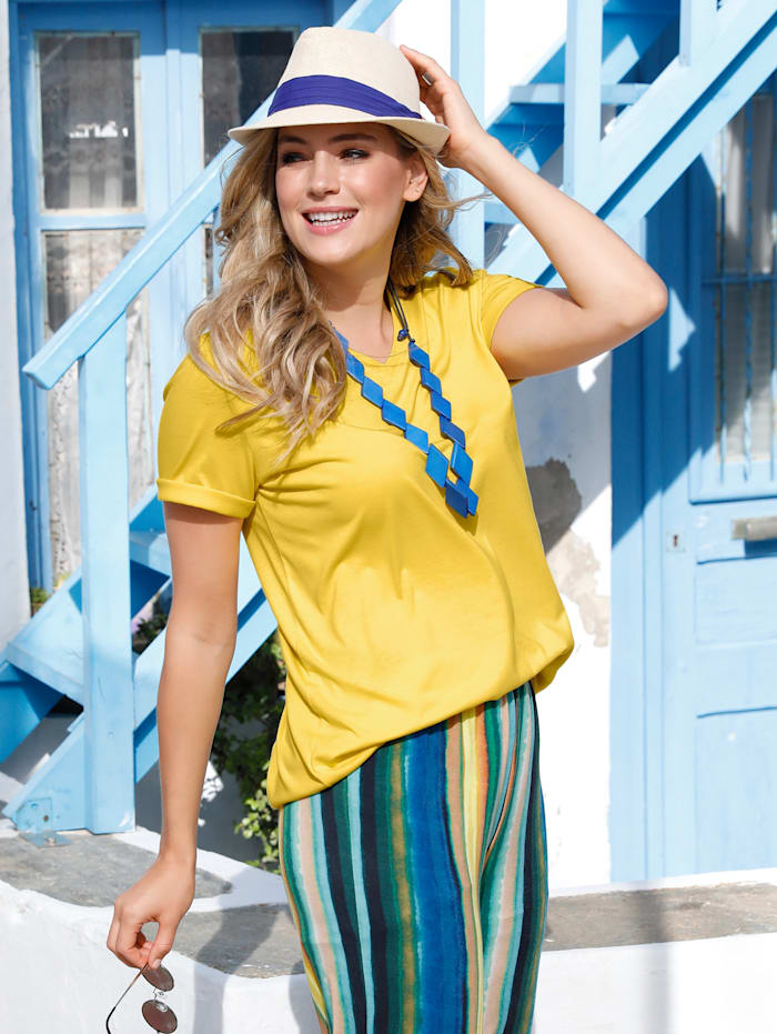 MIAMODA Shirt mit streckendem V-Ausschnitt, Gelb