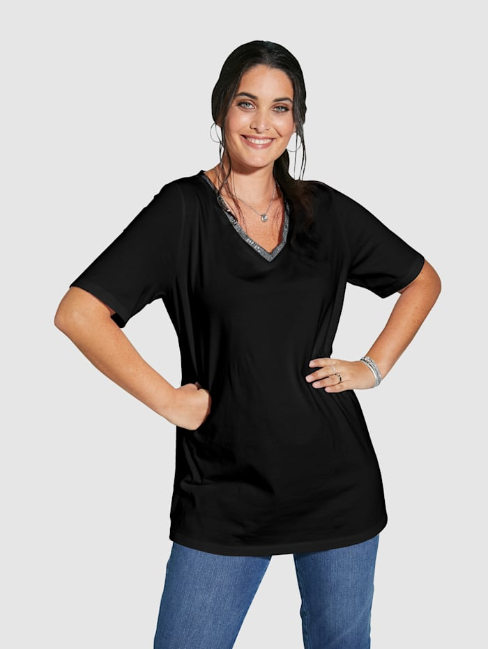 MIAMODA Tričko s predlžujúcim V-výstrihom, Čierna