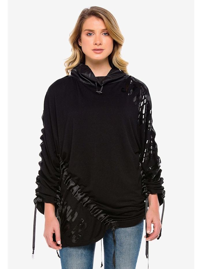 Cipo & Baxx Langarmshirt mit stylishen Bändern, Schwarz
