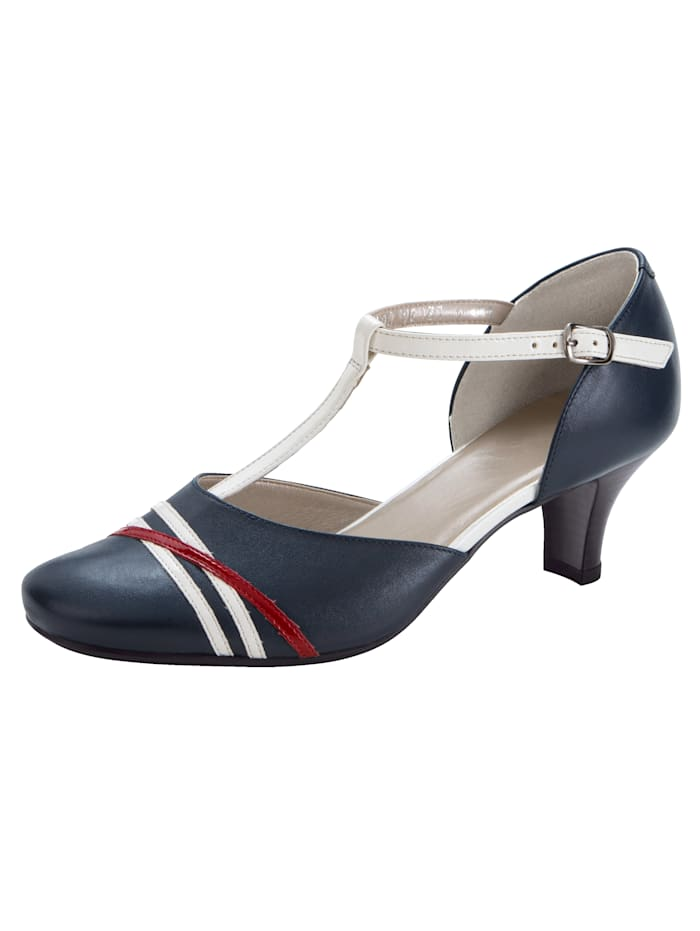 Naturläufer T-bar court shoes in a classic design, Navy/White/Red