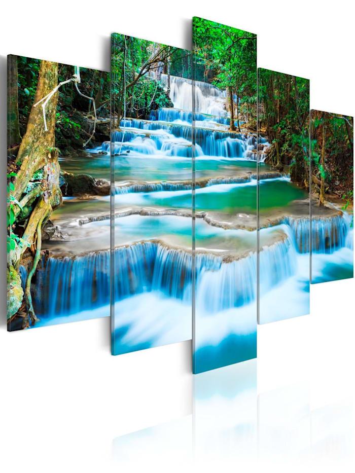 artgeist Wandbild Blauer Wasserfall in Kanchanaburi, Thailand, Blau,Weiß,Grün,Braun