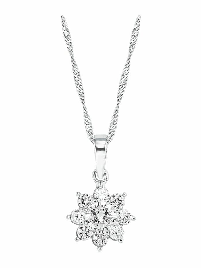 amor Kette mit Anhänger für Damen, Sterling Silber 925, Zirkonia Blume, Silber