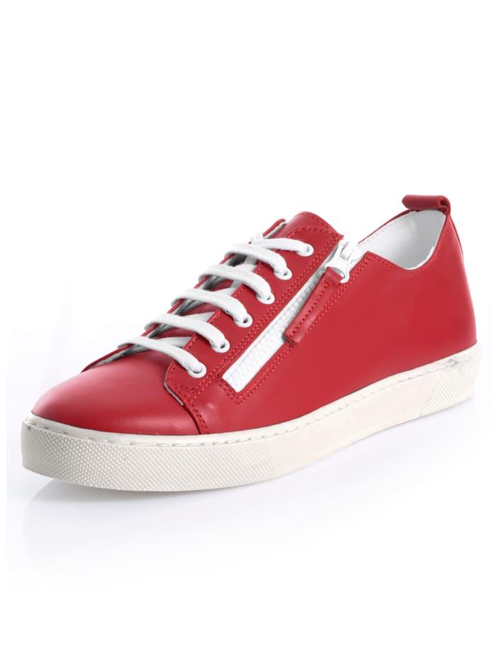 Alba Moda Sneakers av skinn, Röd