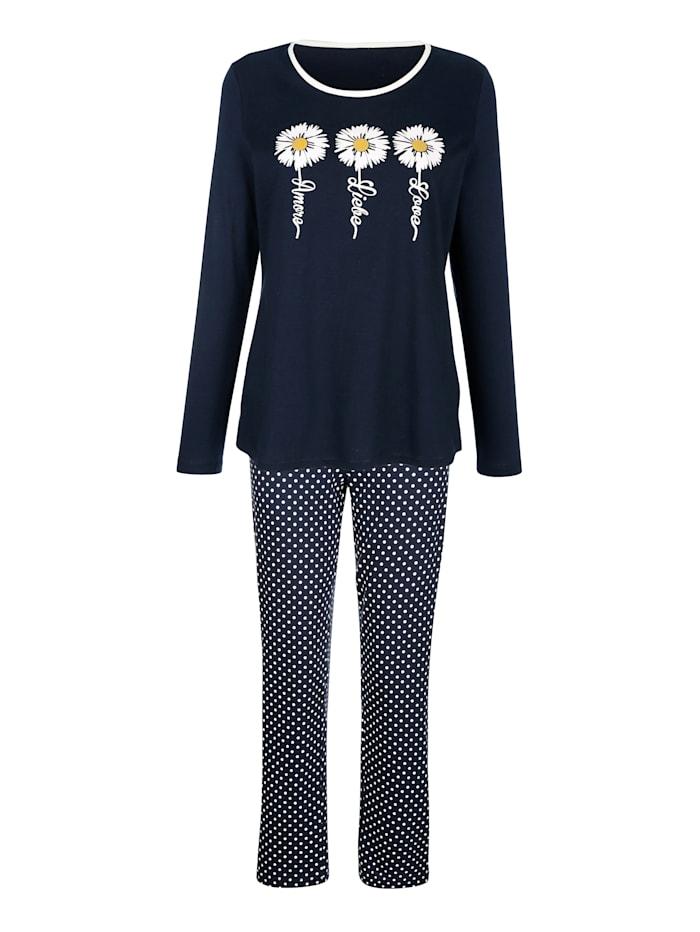 Blue Moon Pyjama met madeliefjesprint, Marine/Wit