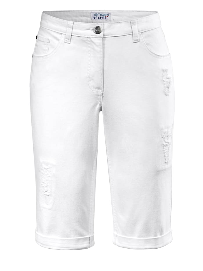 Angel of Style Jeansshort met omslag, Wit