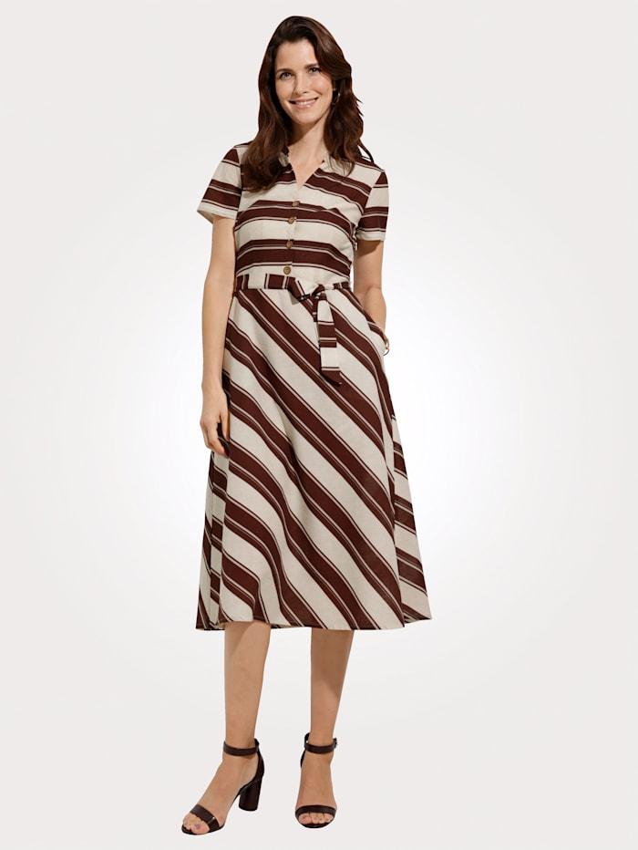 MONA Kleid aus angenehmer Baumwoll-Leinen-Mischung, Natur/Braun