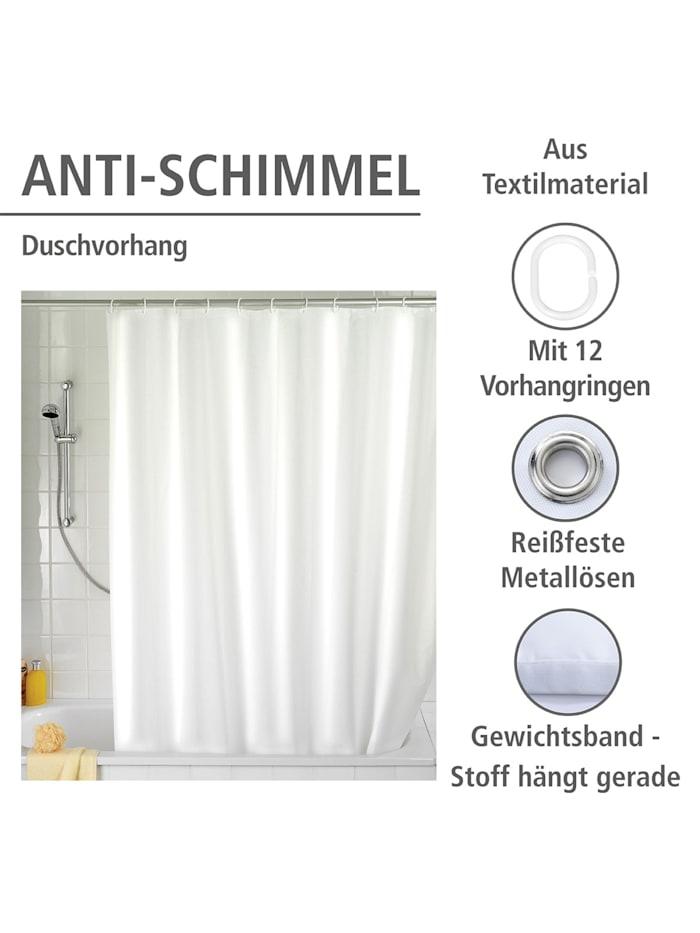 Anti-Schimmel Duschvorhang Uni White, Textil (Polyester), 180 x 200 cm, waschbar