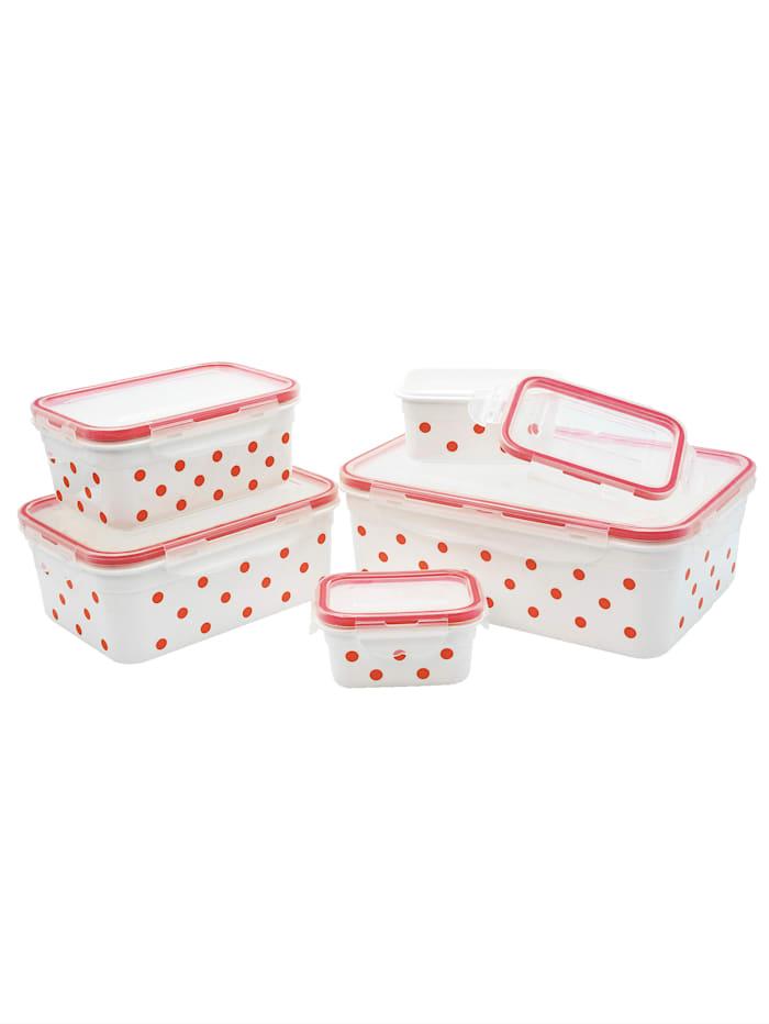HELU Lot de 10 boîtes de conservations 'Pois', Rouge/blanc