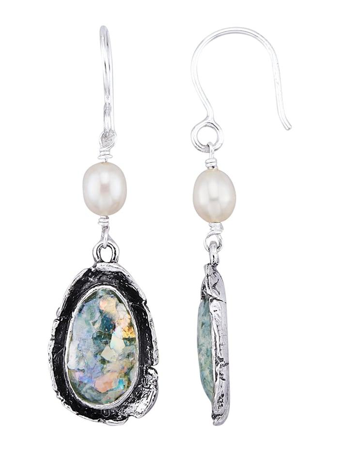 Roman Glass Boucles d'oreilles en argent 925, Coloris argent