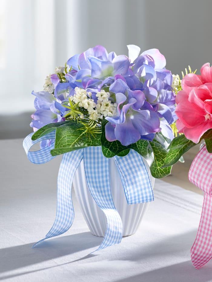 Hortensia posliiniruukussa, tekokukka, Sininen