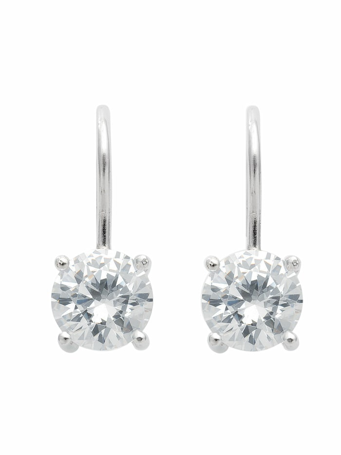 1001 Diamonds 1001 Diamonds Damen Silberschmuck 925 Silber Ohrringe / Ohrhänger mit Zirkonia Ø 8,5 mm, silber