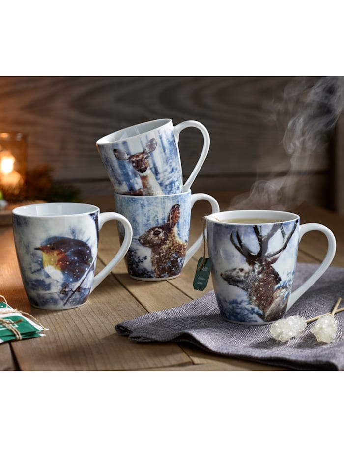 Ritzenhof & Breker Lot de 4 mugs 'Animaux en hiver', Multicolore