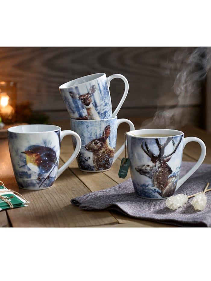 Ritzenhof & Breker Set van 4 koffiemokken Winterdieren, multicolor