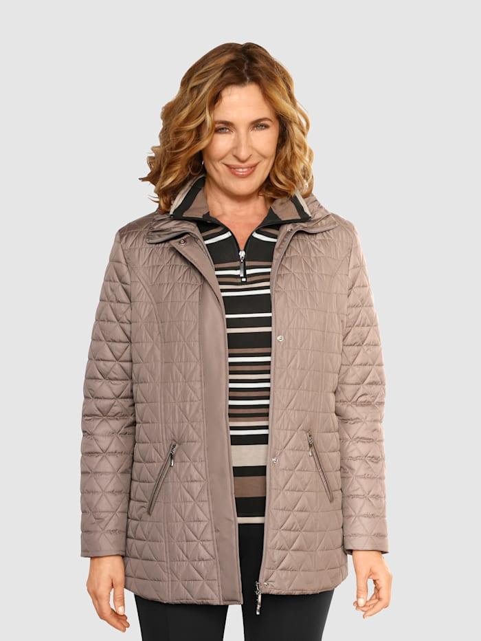 Paola Gewatteerde jas met platte kraag met plooitjes, Taupe