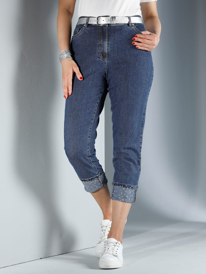 MIAMODA Jeans met omslag en glittersteentjes, Dark blue