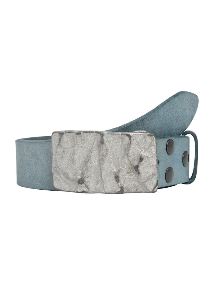 RETTUNGSRING by Showroom 019° Echtledergürtel Gump mit schicker Steinstrukturschließe, jeansblau