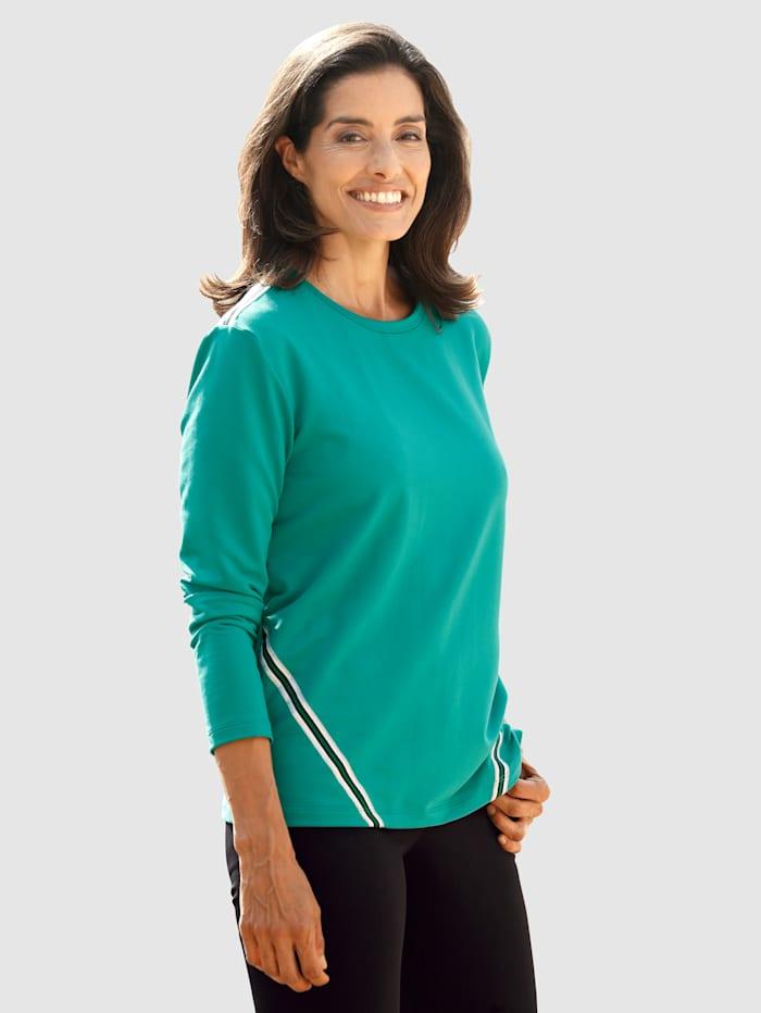 Laura Kent Sweatshirt met contrastkleurig ripsband, Groen