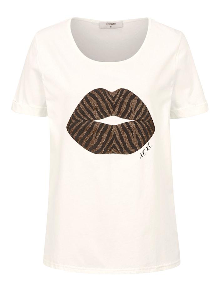 Cream Shirt mit Motiv, Weiß