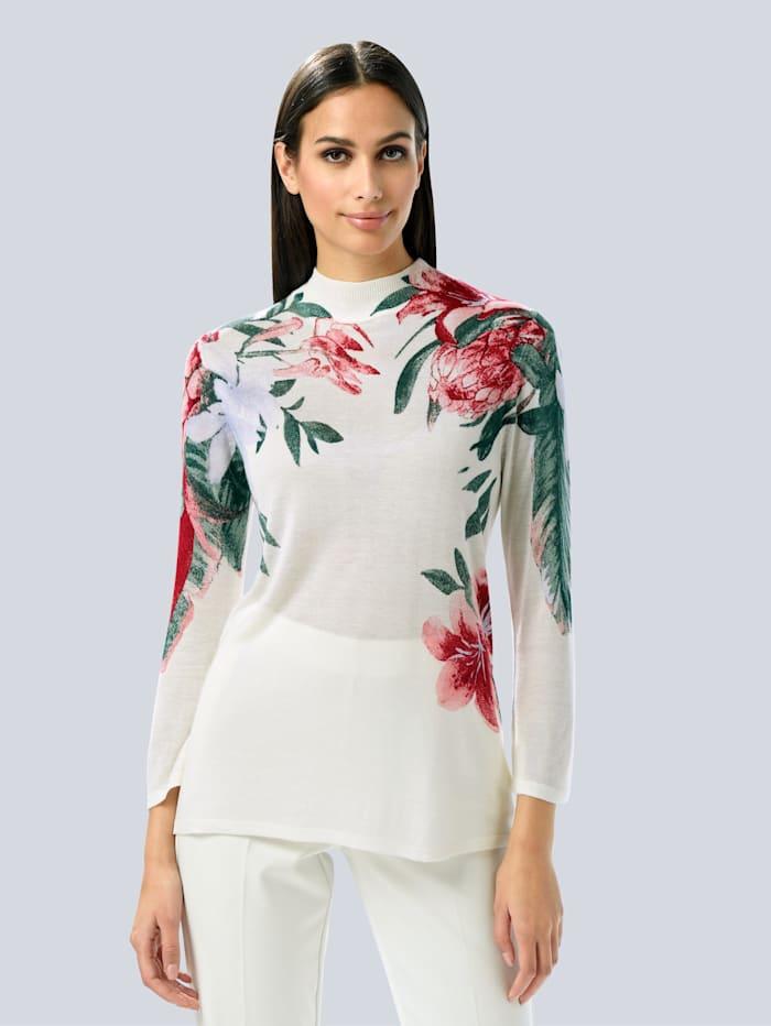 Alba Moda Pullover mit Alba Moda exklusivem Print, Weiß/Koralle/Grün