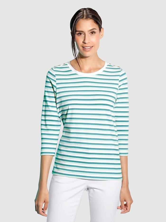 Paola Shirt Mit dekorativen Zierknöpfen an der Schulter, Weiß