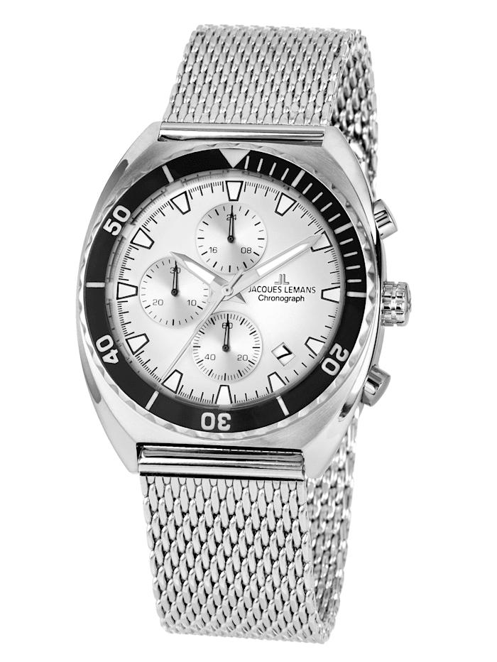 Jacques Lemans Herren-Chronograph Uhr Serie Retro 200 Kollektion Classic 1-2041F, Silberfarben