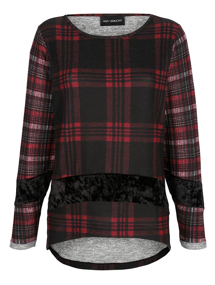 AMY VERMONT Shirt mit Karomuster und Samteinsatz, Schwarz/Grau/Rot