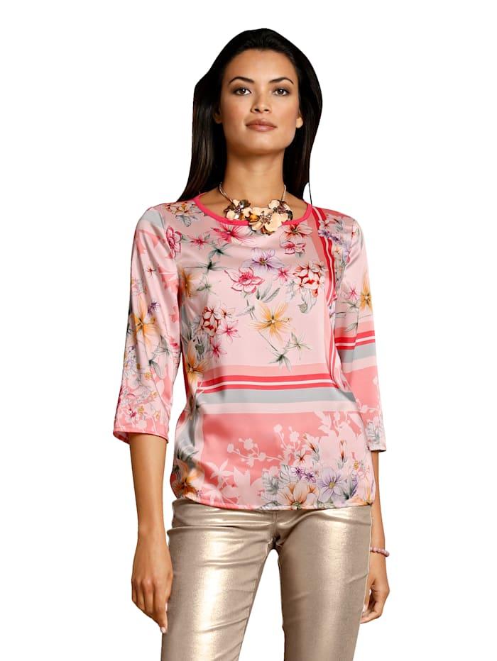 AMY VERMONT Bluse mit floralem Muster, Rosé/Gelb/Blau