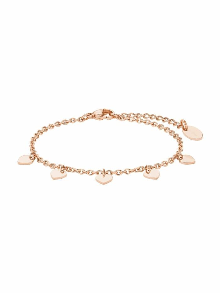 amor Armkette für Damen, Edelstahl, Herz, Roségold