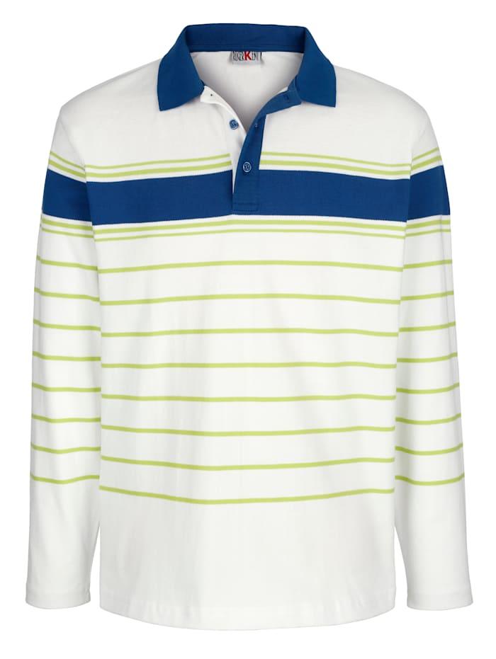 Roger Kent Sweatshirt mit Polokragen, Weiß/Limettengrün