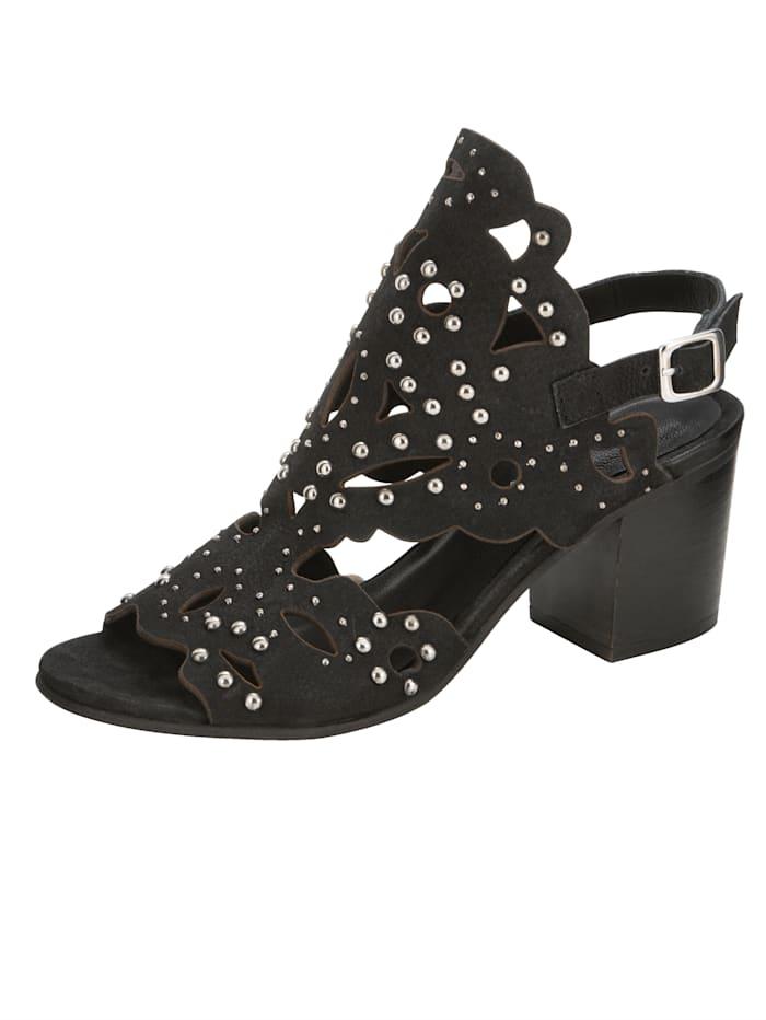 ROCKGEWITTER Sandale mit großzügiger Nieten-Verzierung, Schwarz