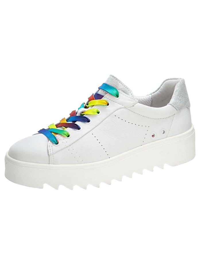 Naturläufer Sneakers à plateau à lacets colorés, Blanc