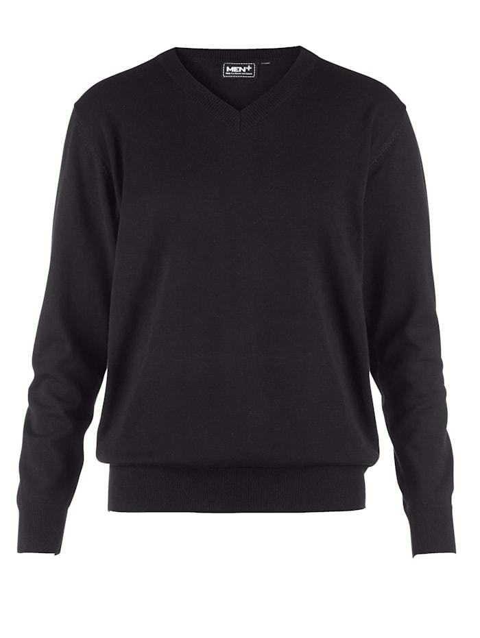 Men Plus V-Pullover aus pflegeleichter Baumwoll-Mischung, Schwarz