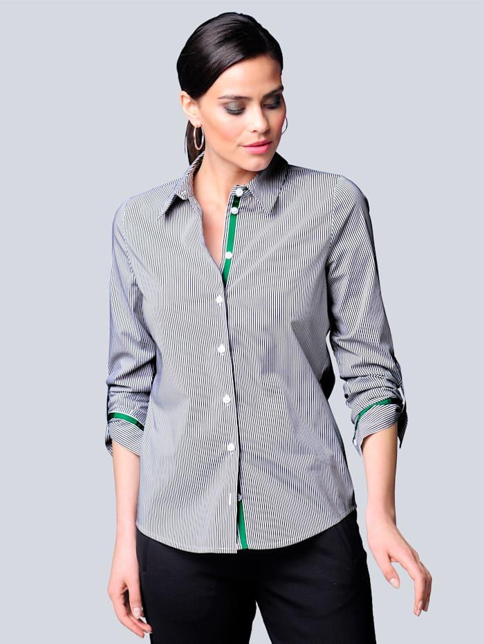 Alba Moda Bluse mit Streifendessin, Schwarz/Weiß/Grün