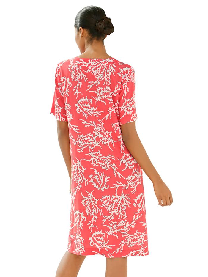 Tunika-Kleid mit Korallendruck