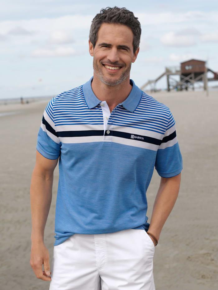 BABISTA Poloshirt in zweifarbiger Optik, Blau/Weiß