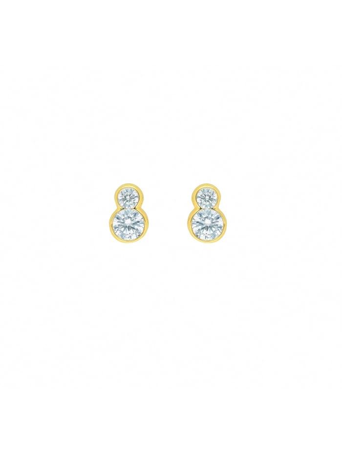 1001 Diamonds Damen Goldschmuck 333 Gold Ohrringe / Ohrstecker mit Zirkonia, gold