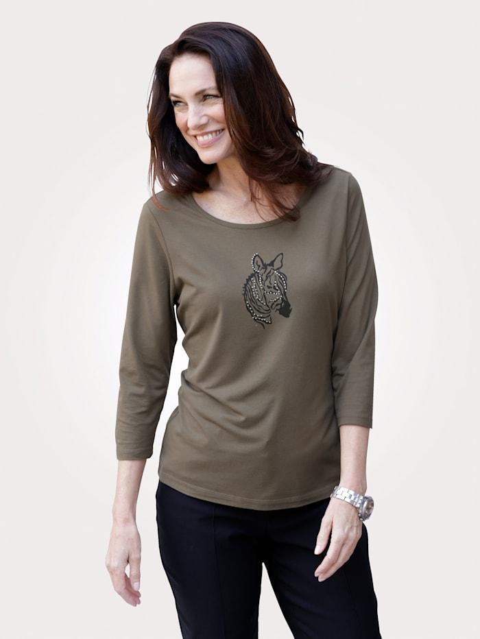 MONA Shirt mit tierischem Druckmotiv, Oliv/Schwarz
