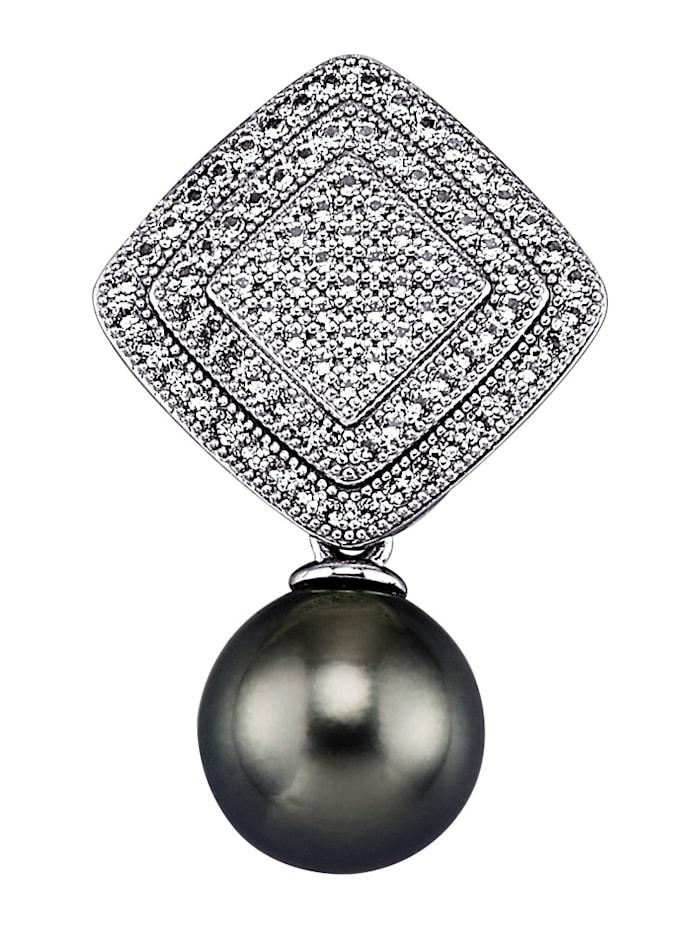 Amara Perles Pendentif avec perle de culture de Tahiti et topazes blanches, Gris