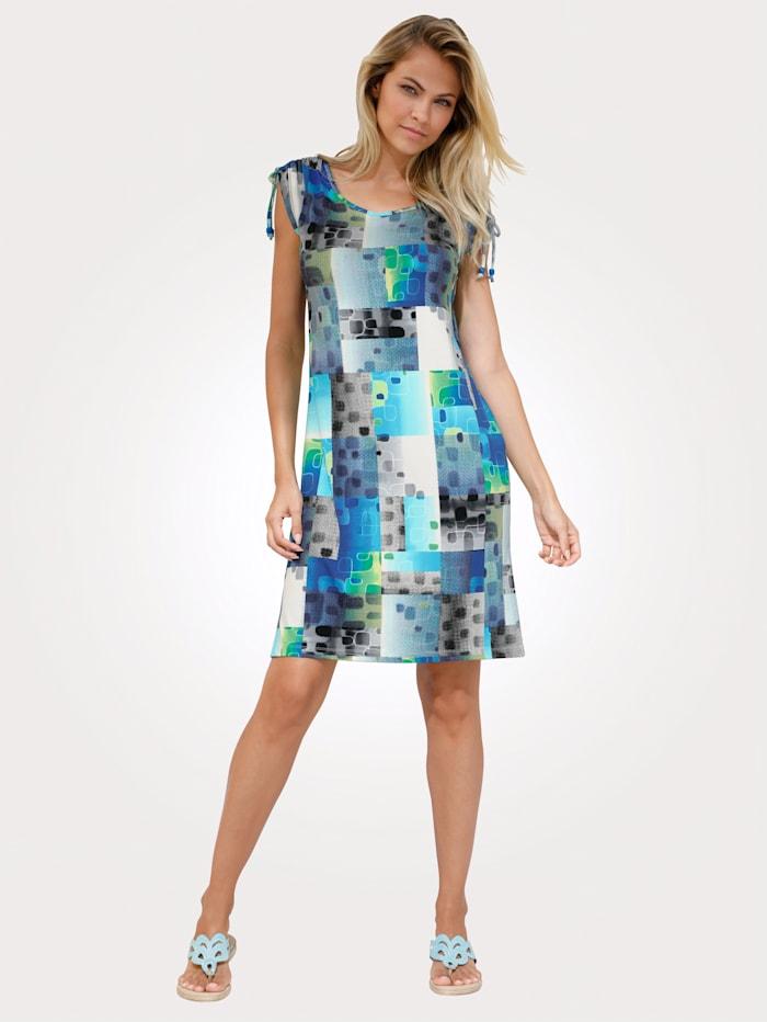 Comodo Beach dress with graphic print, Blue/Green/White