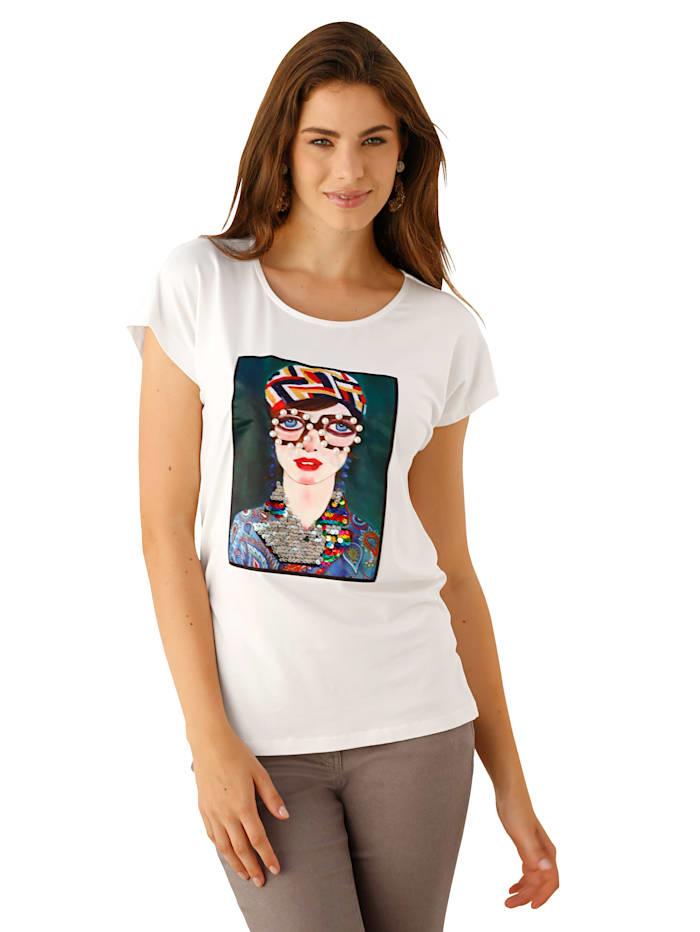 AMY VERMONT Shirt mit bedrucktem und dekoriertem Webeinsatz im Vorderteil, Off-white