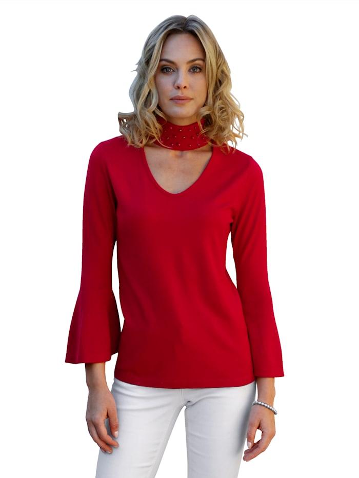 AMY VERMONT Pullover mit Cut-Out und Perlen, Rot