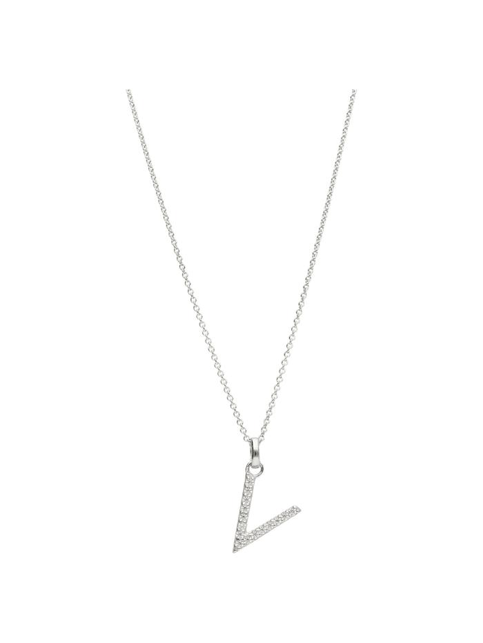 Smart Jewel Kette Buchstabe V mit Zirkonia Steine, Silber 925, Silber