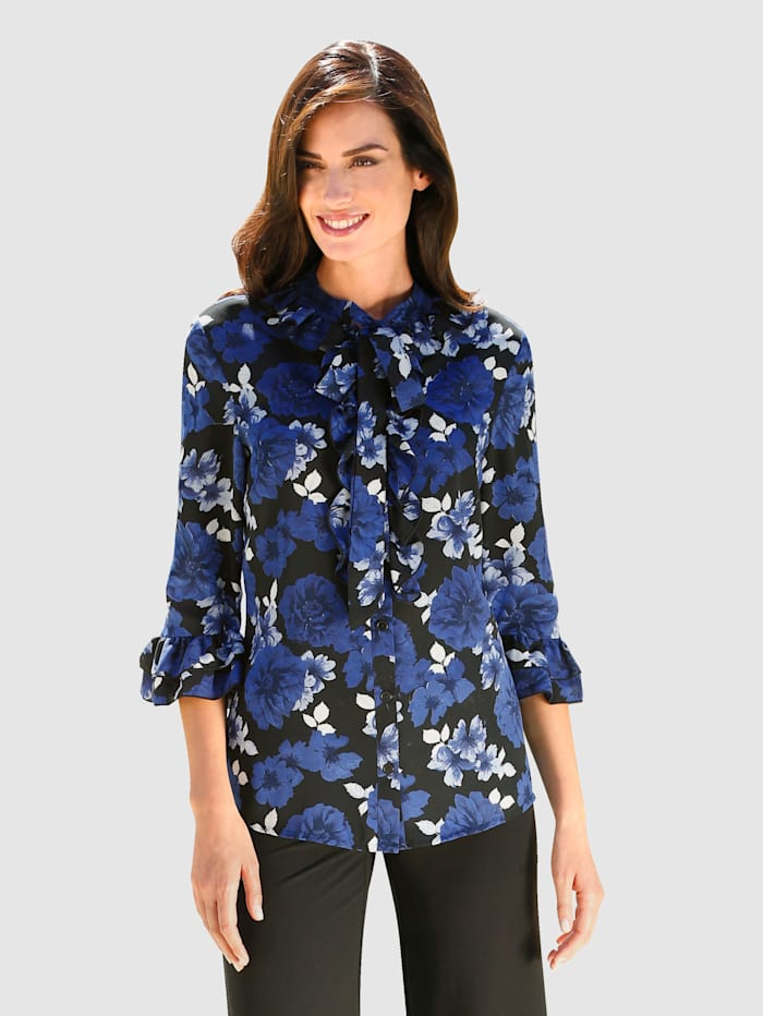 Blus med blommigt mönster, Svart/Kungsblå
