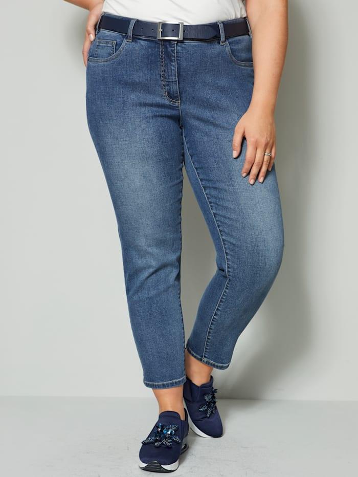Sara Lindholm Jeans mit recyceltem Polyesteranteil, Blue stone