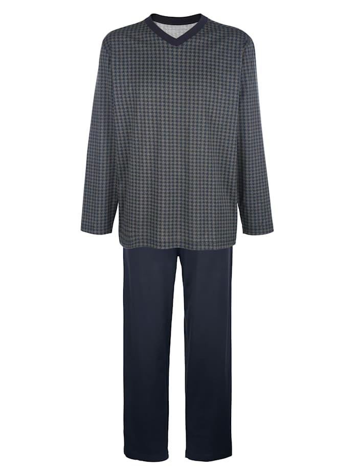 BABISTA Pyjama van gemerceriseerd katoen, Marine/Grijs