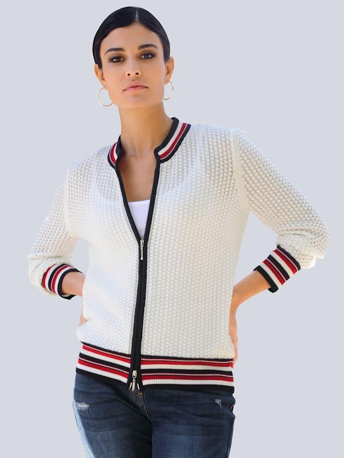 Alba Moda Vest in trendy model, Offwhite/Marine/Rood