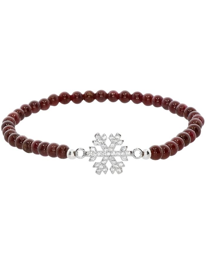 1001 Diamonds Schneeflocke Granat Armband 925 Silber 17 cm, braun