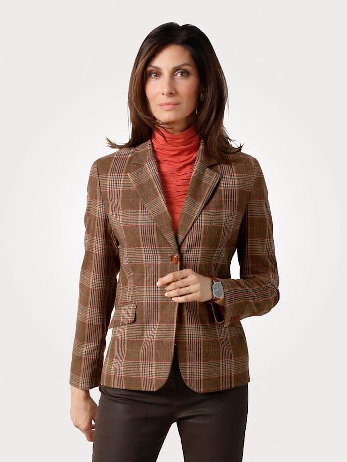 MONA Blazer in a glen check pattern, Terracotta